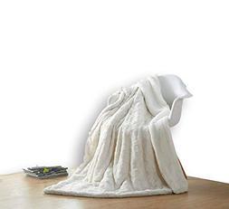 DaDa Bedding Luxury Throw Blanket - White Roses Faux Fur w/