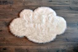 "Machine Washable Faux Sheepskin White Cloud Area Rug 32"" x 4"