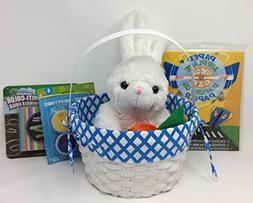 Pre Made Boys Easter Basket with Blue Liner for Kids & White