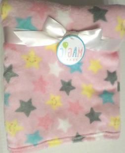 Magic Years Girls Star Print Baby Blanket Lightweight Pink/M