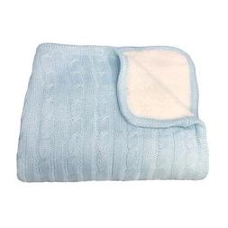 "effe bebe Magnolia Cable Knit and Sherpa Baby Blanket 30""x40"