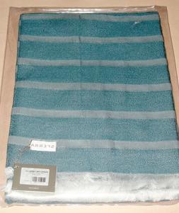 Sferra Marice Throw Blanket Dobby Stripe Peacock Blue Fringe