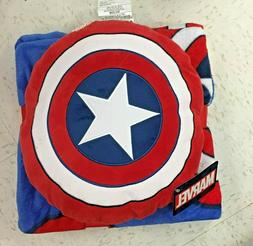 Marvel Avengers Captain America Nogginz Throw Blanket and Pi