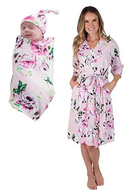 Matching Delivery Robe and Swaddle Blanket Set Mom and Baby