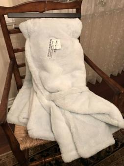 MAX STUDIO Throw DOUBLE SIDED baby blue Faux Fur blanket NWT