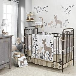 Lambs & Ivy Meadow 4 Piece Crib Perfect Fit Bumper, Cream/Br