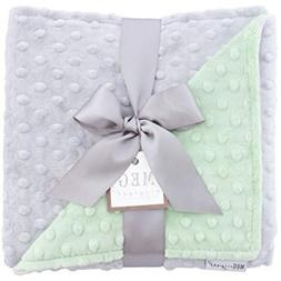 MEG Toddler Blankets Original Minky Dot Baby Green/Gray