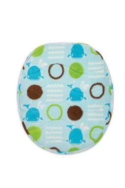 Aquatopia Memory Foam Bath Rug and Lid Cover Set, Blue