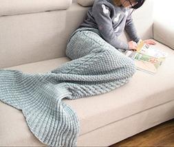 CASOFU Mermaid Tail Blanket, Adult, Thick, Green/Gray