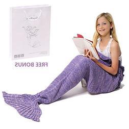AmyHomie Mermaid Tail Blanket, Crochet Knitting Mermaid Blan