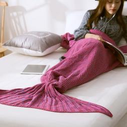 Mermaid Tail <font><b>Blanket</b></font> Handmade Knitted Sl