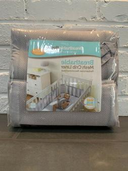 BreathableBaby Mesh Crib Liner-Gray Mist