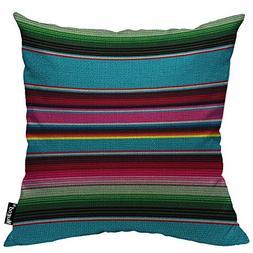 Mugod Mexican Blanket Stripes Pillowcase Ethnic Rainbow Colo