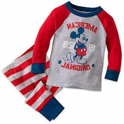 Disney Store Mickey Mouse Americana Baby Pajamas PJ's 3 6 9