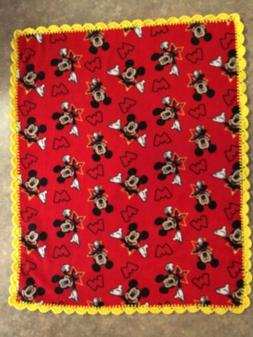 Mickey Mouse Baby -Toddler  Blanket Fleece Crochet Trim Hand