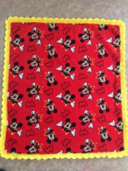 Mickey Mouse Baby -Toddler  Blanket Fleece Crochet Trim Hand
