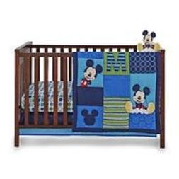 Mickey Mouse 5 Pc Crib Set Comforter Sheet Mobile Dust Ruffl