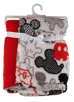 Disney Mickey Mouse Flannel and Sherpa Double Sided Infant B