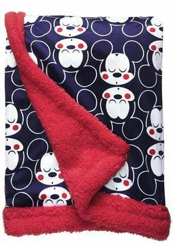 Disney Mickey Mouse Mink & Sherpa Double Sided Infant Blanke