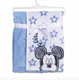 Disney Mickey Mouse Mink & Sherpa Double Sided Infant Blanke