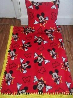 MICKEY MOUSE RED  BABY-TODDLER-BLANKET-FLEECE-CROCHET-EDGE &