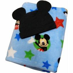 """Disney Mickey Mouse Super Soft Baby Blanket 30"""" x 40"""" w hat"""