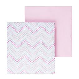 Tadpoles 2 Piece Microfiber Crib Fitted Sheets, Chevron, Pin