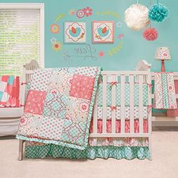 Mila Coral and Blue Floral Patchwork 5 Piece Baby Girl Crib