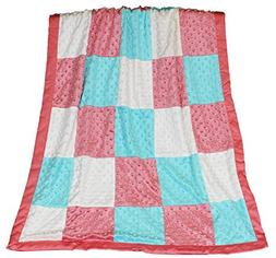 Mila Coral, Aqua and White Patchwork Minky Dot Blanket by Pe
