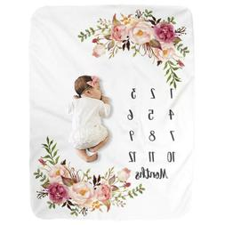 Milestone Blanket Baby Photography Prop Newborn Fleece Showe