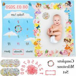 Milestoneix || Milestone Blanket Set for Baby Girl || 47 x 3