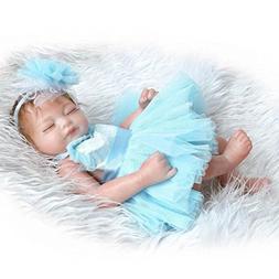 11 inch Mini Lifelike Sleeping Reborn Baby Dolls Headband Bl