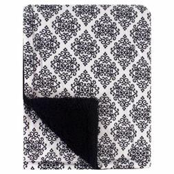 Hudson Baby Mink Blanket with Sherpa Backing, Classic Damask