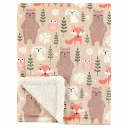 Hudson Baby Mink Blanket with Sherpa Backing, Girl Forest, O