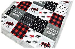 Minky Baby Blanket, Lumberjack Moose in Red, Black and Gray,