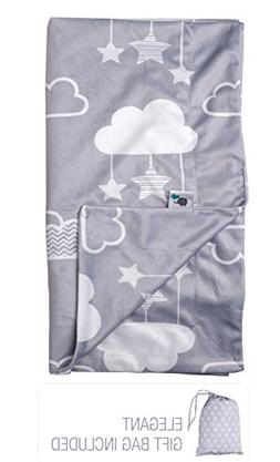 "Minky Baby Blanket 30"" x 40"" - Stars and Clouds - Soft Swadd"