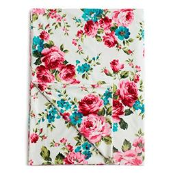 "Kids N' Such Minky Baby Blanket 30"" x 40"" - White Floral - S"