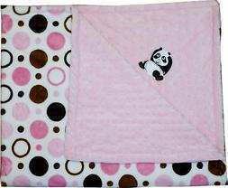 Lil' Cub Hub Minky Blanket, Pink Brown Circles Print/Pink Do