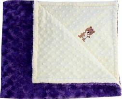 Lil' Cub Hub Minky Blanket, Yellow Dot/Purple Rosebud, Girl
