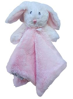 Blankets & Beyond Minky Bunny Security Blanket - Pink and Wh