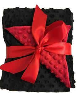 Luvfabrics Minky Dot Baby Blanket double sided throw Red/Bla