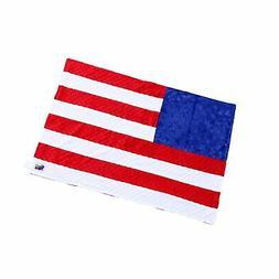 "Minky Dot Plush USA Flag 24"" x 36"" Baby Blanket"