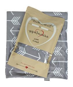 Minky Nursery Blanket | Gray White Feathers Design | Great B