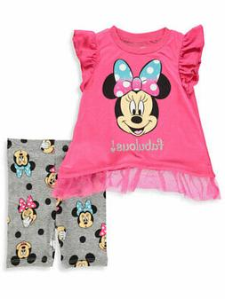 Disney Minnie Mouse Baby Girls' 2-Piece Bike Shorts Set Outf