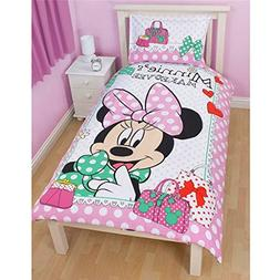 Disney Minnie Mouse Girls Makeover Reversible Twin Quilt Cov