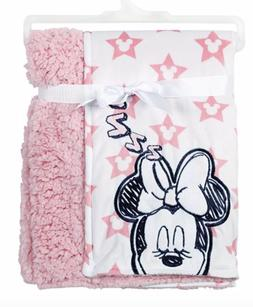 Disney Minnie Mouse Mink & Sherpa Double Sided Infant Blanke