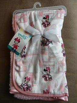 Disney Minnie Mouse Mink and Sherpa Double Sided Infant Blan