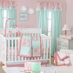 Mint Green and Coral Patchwork 5 Piece Baby Crib Bedding Set