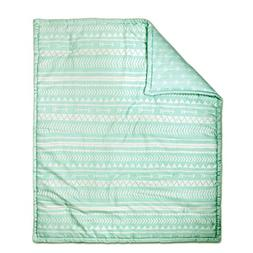 Mint Green Tribal Print Reversible 100% Cotton Crib Quilt by