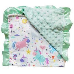 Mint Unicorn / Minky Dot Blanket / Baby Toddler Infant Cute